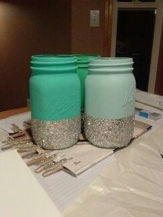 Dorm crafts diy glitter mason jars even just glitter with clear glue, so the candle light shines through