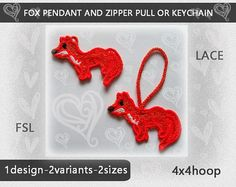 Fox FSL Embroidery Designs No517  Zipper pull  Keychain