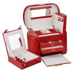 ROWLING Large Faux Leather Jewelry Case Storage Box Watch Box Cosmetic Case 152 (Red) Rowling. Nice.