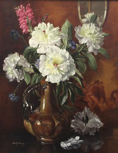 Artwork by Albert Williams, Peonies and stocks in a pottery vase, Made of oil on canvas