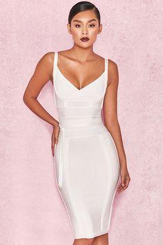 sexy Vestidos lazo Vestidos 'belice' la en con vendaje Vestido con blanco cintura Ropa Bqwp1Cx