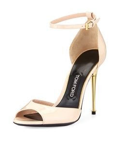 S0A65 TOM FORD Patent Ankle-Wrap d'Orsay Sandal