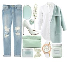 """MINTY"" by strayalley ❤ liked on Polyvore featuring Marie Turnor, Frame Denim, Omorovicza, rag & bone, Michael Antonio, Laura Mercier, Christian Van Sant and Hadaki"