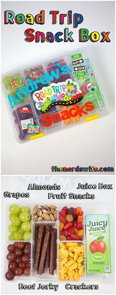 If your kids are anything like mine, they are ALWAYS hungry in the car! Turn a tackle box into a Road Trip Snack Box with Juicy Juice 100% juice boxes, so they can eat what they want, when they want! It's the perfect car hack for road trips! #ad