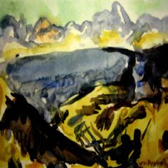 Works on Paper - Mountford Tosswill (Toss) Woollaston - Page 4 - Australian Art Auction Records Abstract Landscape, Landscape Paintings, Landscapes, Australian Art, Art Auction, Tossed, Watercolour, It Works, Museum