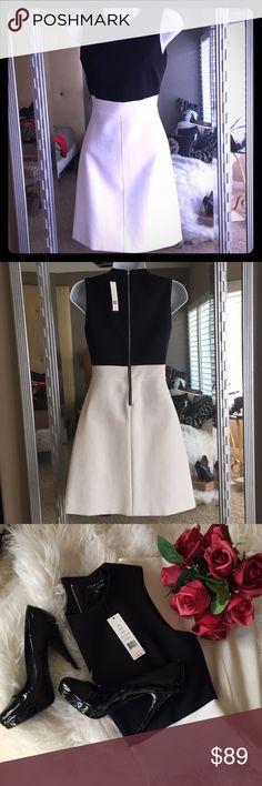 """🎁 THEORY Raneid Dress🎁 ‼️Theory is a New York based contemporary fashion label which sells clothing and accessories❤️ This Super Cute Color Block Dress is both Classic and Trendy😍🎁. The top is Black and skirt is winter white (off white). Tags reads 00 but it seems to run larger. Armpit width 15"""", waist 12.5"""", skirt length 19"""". Poly/cotton/elast blend. 🎁 Theory Dresses Mini"""