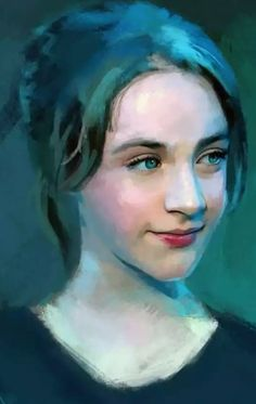 Portrait of girl in Blue-Teal-Turquoise; posted by Mindtravel; artist and title unknown.