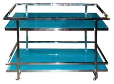 Turquoise Two Tier Bar Cart - easy to do with back painted glass.