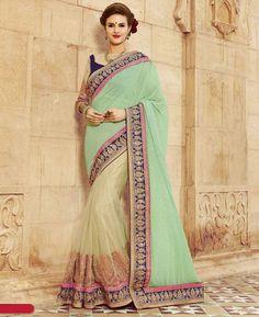 Buy Bewitching Green & Cream Georgette Sarees online at  https://www.a1designerwear.com/bewitching-green-cream-georgette-sarees  Price: $77.75 USD