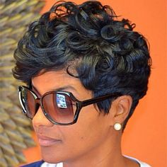 Short Wave Lace Front Human Hair Wigs Indian Remy Hair Short Wig For Black Women Color Machine Made No Lace Wig - hair - Hair Designs Love Hair, Great Hair, Amazing Hair, Curly Hair Styles, Natural Hair Styles, Natural Wigs, Natural Curls, Natural Women, Short Wigs