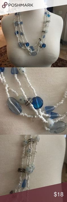 Unique glass and bead necklace Lovely seed-bead and glass necklace. Beautiful blue hues. Jewelry Necklaces