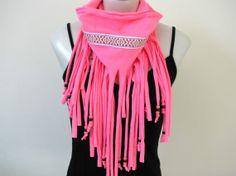 Boho Chic Fringe Tshirt Scarf Neon Pink Spring by FeathersandFancy, $35.00