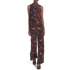 Women's Leith Floral Print Wide Leg Pants ($43) ❤ liked on Polyvore featuring pants, navy autumn garden, floral print trousers, vintage pants, floral trousers, navy blue wide leg pants and floral wide leg trousers
