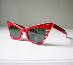 1950's Red Cat Eye Sunglasses  Mid Century Modern  by BeeJayKay