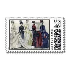 Victorian Bridal Fashion Postage Stamps