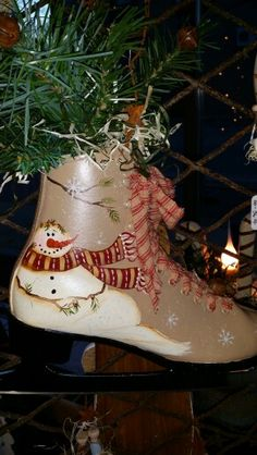 Hand painted ice skates in stock at Ann Marie's Gifts and Home Decor located in Beaverton Michigan find us on Facebook! https://www.facebook.com/AnnMarieHeathCustomFlorals