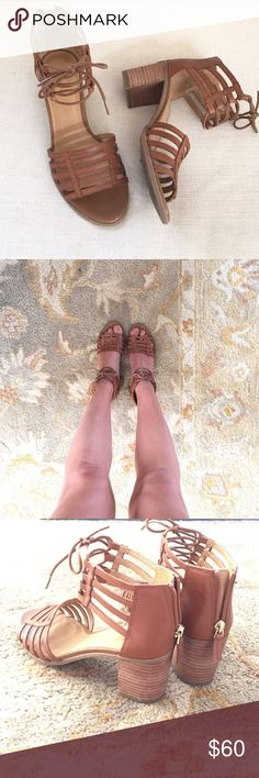 Franco Sarto Lattice Lace Up Sandal Franco Sarto Henrika Lace up Sandal. Worn once. Basically brand new. Stacked heel.  Leather upper. Zip up back for easy on and off. I don't feel like these are true to size. I feel like a small 6.5 could fit in these too. Franco Sarto Shoes Sandals