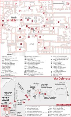 Map of the Church of the holy sepulcher and via Dolorosa