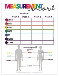 health & fitness planner | printable | organizational printables | weight loss tracker | measurement record
