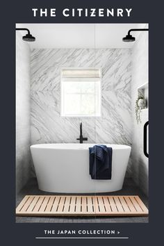 The Japan Collection From luxe bath towels to hinoki furniture, designs to bring artistry and calm t Bathroom Renos, Bathroom Renovations, Bathroom Interior, Small Bathroom, Master Bathroom, Design Bathroom, Bathroom Ideas, Stone Bathroom, Attic Bathroom