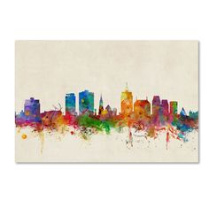 Christchurch New Zealand Skyline by Michael Tompsett Graphic Art on Wrapped Canvas