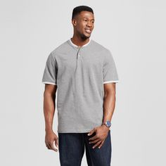 Men's Big Henley Shirt Gray 5XB - Merona, Shirts & Tops