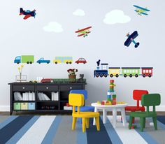 Nursery decals Train decal Plane decal Vinyl wall by wallinspired, $85.00