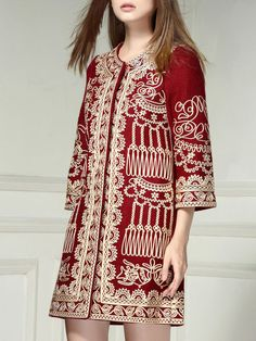 Plus Size Embroidery Wool Long Coat