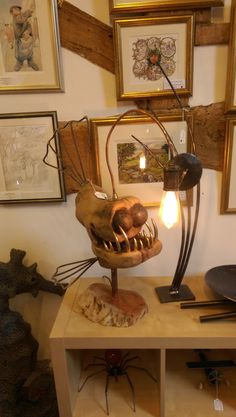 Artist and sculpture Nik Burns, from the picturesque hills of Shropshire, England creates one of a kind sculptures using wood and metal. Fish Lamp, Angler Fish, Steampunk Lamp, Wooden Lamp, Bedroom Lamps, Lamp Design, Wood And Metal, Metal Art, Decoration