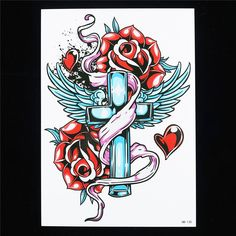 Rose Flower Cross Wings Temporary Tattoo