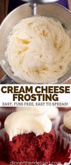Cream Cheese Frosting made with just 5 ingredients is rich and creamy, PERFECT for cakes or cupcakes, and ready in under 10 minutes! Cream Cheese Frosting made with just 5 ingredients is rich and creamy, PERFECT for cakes or cupcakes, and ready in u Cream Cheese Cookies, Cookies Et Biscuits, Whipped Cream Cheese Frosting, Creamcheese Frosting Recipe, Cream Cheese Frosting Recipe For Cupcakes, Frosting For Brownies, Cream Filling For Cupcakes, Cream Cheese Cake Filling, Homemade Cream Cheese Icing