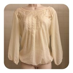 SALE⛵️Boho Chic Sheer Beige Seersucker w/Lace Top ⛵️SPRING IS HERE SALE!⛵️My entire closet is on sale this wknd!! ⛵️ Boho Chic Sheer Beige Seersucker W/Lace Detail Top.  This boho chic sheer beige seersucker blouse with bishop sleeves and an elastic partly cinched bottom, which hits below the waist closer to hips. The top of the blouse is sheer and lace detailed with a tie at the back of the shirt under the neck. The shirt is so pretty and feminine and goes with almost anything. This shirt…