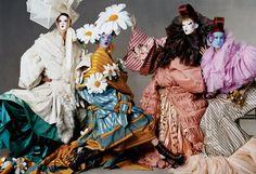 Carmen Kass, Natalia Vodianova, Elise Crombez, and Eugenia Volodina in Christian Dior Haute Couture.