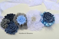 Blue Denim Chiffon Flower Maternity Sash Belt - Pregnancy Photo Prop - It's A Boy - Blue White Gray Maternity Photo Props, Maternity Sash, Denim Flowers, Chiffon Flowers, Sash Belts, White Chiffon, Boy Blue, Stretch Lace, Pregnancy Photos