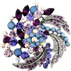 Amethyst Purple Flower Wedding Swarovski Crystal Pin Brooch and Pendant