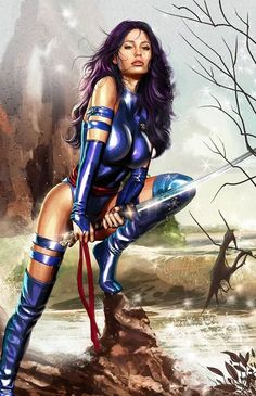 Psylocke by Greg Horn - Marvel Comic Book Artwork X Men Comics, Heros Comics, Marvel Comics Art, Marvel Comic Books, Comics Girls, Comic Book Characters, Marvel Characters, Comic Character, Comic Book Heroes