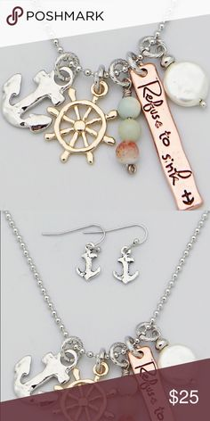 Selling this Refuse to Sink anchor rudder necklace in my Poshmark closet! My username is: thejeweladdict. #shopmycloset #poshmark #fashion #shopping #style #forsale #Jewelry