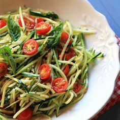 Zucchini Pasta without the pasta uses the vegetables itself as the noodles in this light, vegetarian dish.