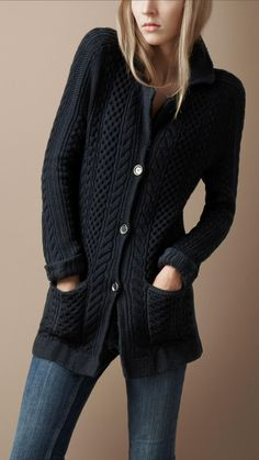 Burberry - CABLE KNIT JACKET Chunky Cardigan f1fdf0fec854