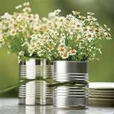 tin cans with baby breath