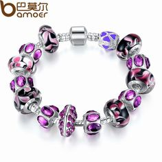 BAMOER Fashion European Style 925 Silver Charm Bracelet with Purple Murano Glass Beads DIY Fashion Jewellery PA1319 $7.76   => Save up to 60% and Free Shipping => Order Now! #fashion #woman #shop #diy  http://www.rodjewelry.com/product/bamoer-fashion-european-style-925-silver-charm-bracelet-with-purple-murano-glass-beads-diy-fashion-jewellery-pa1319/