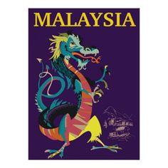 Malaysia Dragon vintage style travel poster