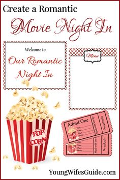 Intentionally dating your spouse doesn't have to mean paying for a babysitter and leaving the house! Create a romantic dinner and movie night in with these printables: http://youngwifesguide.com/our-14-day-romance-challenge/