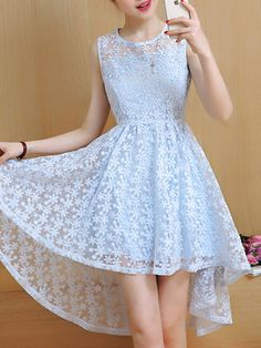 Light Blue Elegant Floral High Low Party Dress