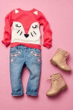 Toddler girl fashion Kids' clothes Fox sweater Embellished jeans Boots The Children's Place Little Girl Outfits, Cute Outfits For Kids, Little Girl Fashion, Fashion Kids, Toddler Fashion, Fashion Clothes, Girl Clothing, Trendy Fashion, Infant Clothing