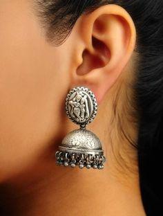 Radha-Krishna Silver Jhumkas Ethnic Jewelry, Modern Jewelry, Metal Jewelry, Indian Jewelry, Sterling Silver Jewelry, Fine Jewelry, Silver Jewellery, Silver Jhumkas, Enchanted Jewelry