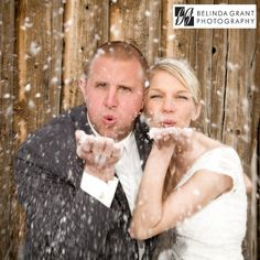 Blowing snow! Winter wedding