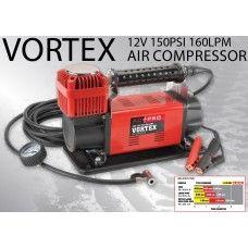 Vortex air compressor able to inflate 4x4 tires rapidly with a massive 160 liters of air flow per minute.