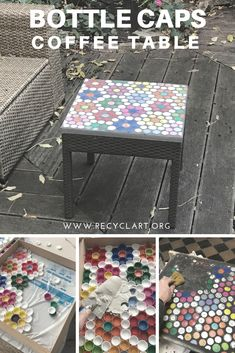 An old garden coffee table with a broken surface is given new life with a new surface made from upcycled plastic bottle caps. An old garden coffee table with a broken surface is given new life with a new surface made from upcycled plastic bottle caps. Bottle Cap Table, Bottle Cap Art, Bottle Cap Crafts, Diy Bottle, Bottle Top, Plastic Bottle Caps, Reuse Plastic Bottles, Plastic Bottle Flowers, Garden Ideas With Plastic Bottles