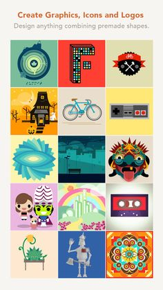 Assembly ipad app - be creative Design graphics, icons, logos, scenes and characters